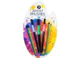 36 Units of 9 Piece Paint Brush - Art Paints