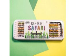 36 Units of Sketch And Color 8 Pack Flocked Safari Sketch Pencils In Case - Pencils