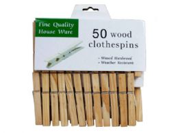 72 Units of 50 Count Waxed Hardwood Clothespins - Store