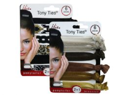 144 Units of Mia Beauty 6 Piece Tony Ties In Assorted Colors And Patterns - Hair Accessories