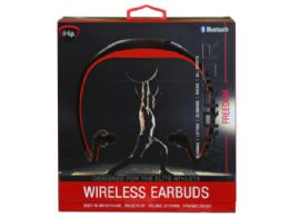 6 Units of Ihip Warrior Black And Red Bluetooth Athletic Wrap Earbuds - Headphones and Earbuds