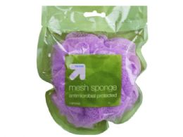 96 Units of Up And Up Antimicrobial Mesh Bath Sponge In Assorted Colors - Shower Accessories