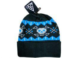72 Units of Ladies Skull Cuff Black Knit Hat - Costumes & Accessories