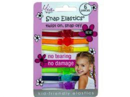 144 Units of Snap Elastics Rainbow Hair Ties 6pk - Hair Accessories
