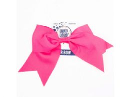 144 Units of Create Out Loud Large Pink Hair Bow - Hair Accessories