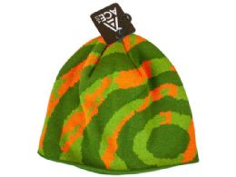 72 Units of mens bullseye knit orange beanie - Winter Beanie Hats