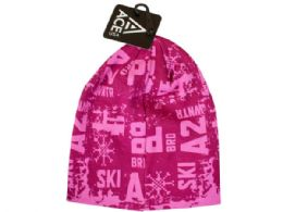 54 Units of Ladies Printed Knit Pink Beanie - Winter Beanie Hats