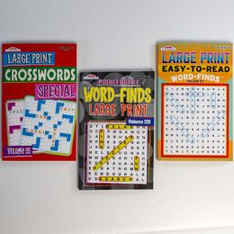 120 Units of Puzzle Books Large Print Pocket Size 3 Assorted Word Finds & Crossword In Floor Display - Crosswords, Dictionaries, Puzzle books