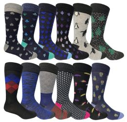 60 Units of Yacht & Smith Assorted Design Mens Dress Socks, Sock Size 10-13 Assorted 12 Designs - Mens Dress Sock