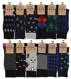 12 Units of Yacht & Smith Mens Assorted Design Dress Socks, Many Prints Multi Pack - Mens Dress Sock