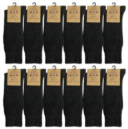12 Units of Yacht & Smith Mens Classic Combed Cotton Black Ribbed Dress Socks - Mens Dress Sock