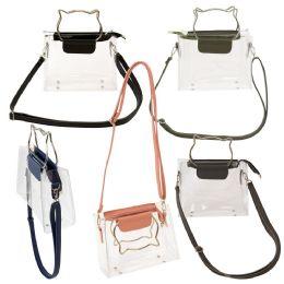 24 Units of Women's Clear PVC Crossbody Bag with Cat Ear Handles - Shoulder Bags & Messenger Bags