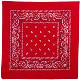 36 Units of Yacht & Smith 22x22 Inch Cotton Red Paisley Bandanna - Bandanas
