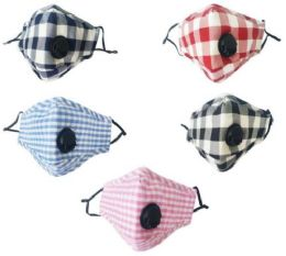 12 Units of Cloth Five Layer Masks with Valve Assorted Large Plaid - PPE Mask