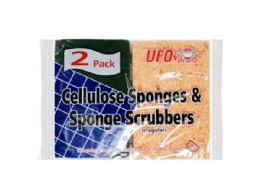 144 Units of Two Pack Cellulose Sponges And Scrubbers - Scouring Pads & Sponges