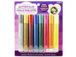 72 Units of 8 Pack Multi Color Glitter Glue Tubes - Glue