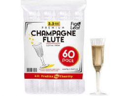 12 Units of 60 Pack 5.5oz Premium Party Champagne Flutes - Plastic Drinkware