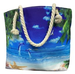 24 Units of Nautical Rope Large Beach Tote Bag With Inner Pocket , Assorted Summer Prints - Tote Bags & Slings