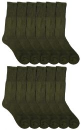 12 Units of Yacht & Smith Military Grade Wick Dry Crew Socks ,Heavy Duty Boot Sock, Army Green - Mens Crew Socks