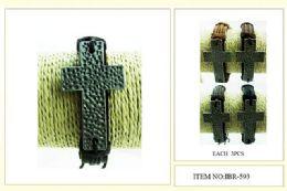 60 Units of Wholesale Metal Cross Faux Leather Bracelet - Bracelets