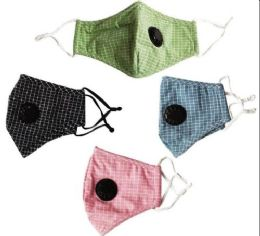 24 Units of Wholesale Cloth five layer masks with valve Assorted small plaid - Face Mask