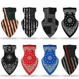 24 Units of Assorted Printed Neck Gaiter Scarf Shield Bandana With Ear Loops Face Cover Balaclava - Bandanas
