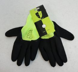 60 Units of Latex Coated Work Glove [neon Green] - Working Gloves