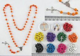 60 Units of Scented Wood Cross Rosary Necklace - Necklace
