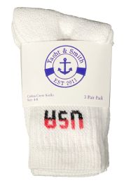 60 Units of Yacht & Smith Kids Premium Cotton USA Crew Socks White Sock Size 4-6 - Boys Crew Sock