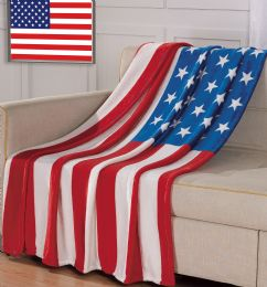 12 Units of American Flag 50 x 70 Over Sized Throw - Fleece & Sherpa Blankets