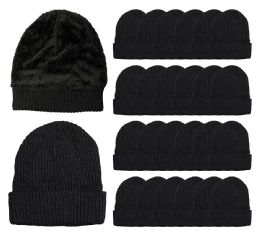 24 Units of Yacht & Smith Black Ribbed Sherpa Beanie, Super Warm Winter Beanie - Winter Beanie Hats