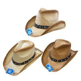 24 Units of Classic Woven Cowboy Hat [aquamarine Hat Band] - Cowboy & Boonie Hat