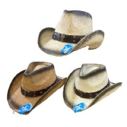 24 Units of Classic Woven Cowboy Hat [black Shading/steer] - Cowboy & Boonie Hat