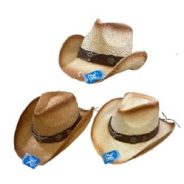 24 Units of Classic Woven Cowboy Hat [Brown Hat Band/Steer] - Cowboy & Boonie Hat