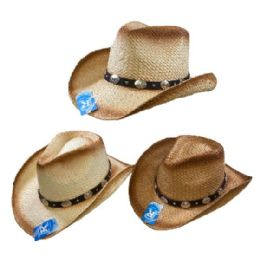 24 Units of Classic Woven Cowboy Hat [Round Silver Medallions on Hat Band] - Cowboy & Boonie Hat