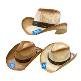24 Units of Classic Woven Cowboy Hat [Studded Hat Band] - Cowboy & Boonie Hat