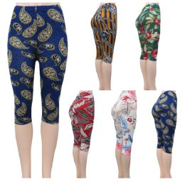 "48 Units of ""Soft Feel"" below the knee capri length leggings in assorted prints - Womens Leggings"