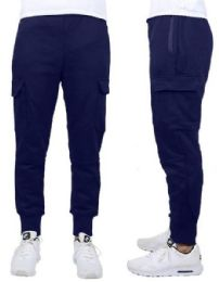 24 Units of Men's Heavyweight SliM-Fit Fleece Cargo Sweatpants Assorted Sizes Solid Navy - Mens Pants