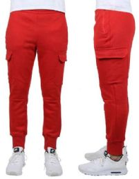 24 Units of Men's Heavyweight Slim-Fit Fleece Cargo Sweatpants Assorted Sizes Solid Red - Mens Pants