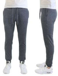24 Units of Men's Heavyweight SliM-Fit Fleece Cargo Sweatpants Assorted Sizes Solid Grey - Mens Pants