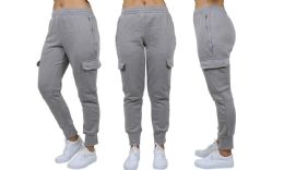 24 Units of Womens Fleece-Lined Loose-Fit Cargo Joggers Assorted Sizes Solid Gray - Womens Pants