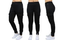 24 Units of Womens Fleece-Lined Loose-Fit Cargo Joggers Assorted Sizes Solid Black - Womens Pants