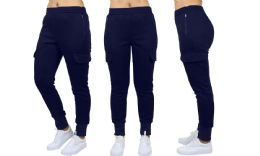 24 Units of Womens Fleece-Lined Loose-Fit Cargo Joggers Assorted Sizes Solid Navy - Womens Pants
