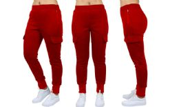 24 Units of Womens Fleece-Lined Loose-Fit Cargo Joggers Assorted Sizes Solid Red - Womens Pants
