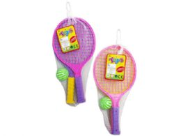 36 Units of 2 Pack Racket Play Set 2 Asst Colors - Sports Toys