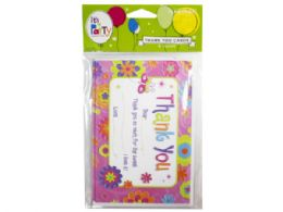 144 Units of 8 Count Garden Party Thank You Cards - Party Novelties
