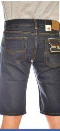 24 Units of MEGA CLUB FASHION DENIM SHORTS SOLID BLUE BLACK COLOR IN ASSORTED SIZES - Mens Shorts