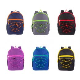 "24 Units of 17"" Bungee Backpacks in 6 Assorted Colors - Backpacks 17"""