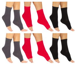6 Units of Yacht & Smith Women's Cotton Pedicure Socks, Open Toe Flip Flop Socks, Sock Size 9-11 - Womens Ankle Sock