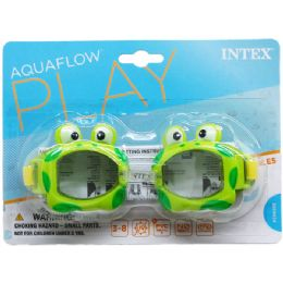 "12 Units of 6.25"" JUNIOR GOGGLES ON BLISTER CARD, 3 ASSRT CLRS, 3-8 - Summer Toys"